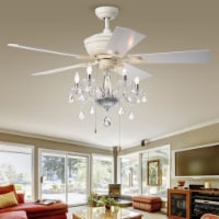 Warehouse of Tiffany CFL-8213WH 26 in. Havorand 5-Light Indoor Hand Pull Chain Ceiling Fan, W