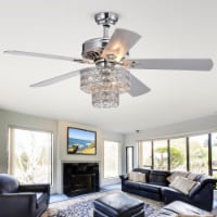Warehouse of Tiffany CFL-8355REMO-CH 52 in. Empire Indoor Remote Controlled Ceiling Fan with