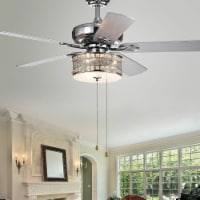 Warehouse of Tiffany CFL-8333CH 52 in. Davrin 3-Light Indoor Hand Pull Chain Ceiling Fan, Chr - 1