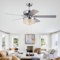 Warehouse of Tiffany CFL-8356CH 52 in. Hai 6-Light Indoor Hand Pull Chain Ceiling Fan, Chrome - 1