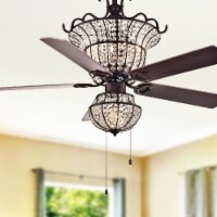 Warehouse of Tiffany CFL-8154BR 52 in. Charla 4-Light Indoor Hand Pull Chain Ceiling Fan, Bro - 1