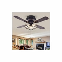 Warehouse of Tiffany CFL-8173AB 42 in. Tarudor 3-Light Indoor Hand Pull Chain Ceiling Fan, Br - 1