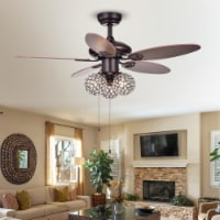 Warehouse of Tiffany CFL-8279BR 42 in. Casimer 3-Light Indoor Hand Pull Chain Ceiling Fan, Br - 1
