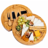 Bamboo Cheese Board and Knife Set, 10 Inch Swiveling Charcuterie Board With Slide-Out Drawer - 1
