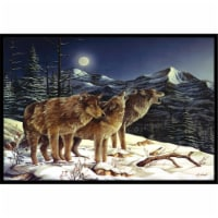 Wolf Wolves Crying At The Moon Indoor & Outdoor Mat, 24 x 36 in.