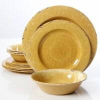 Studio California Mauna Crackle Melamine Dinnerware Set, Yellow - 12 Piece - 12