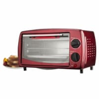 Red 4 Slice Toaster Oven, 14.5 x 9.5 x 8.5 in.