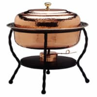 16.5 x 12.5 x 18 Inch Oval Decor Copper Chafing Dish - 6 Qt
