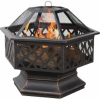 Oil Rubbed Bronze Hex Shaped Outdoor Firebowl With Lattice