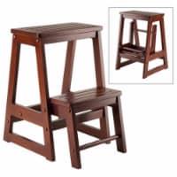 Folding Step Stool - Walnut Solid - Composite Wood - 1