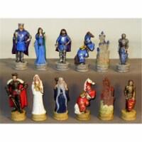 King Arthur Chessmen - Painted Resin Chessmen - 1