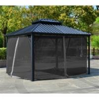 Aleko GAZM10X12-UNB 12 x 10 ft. Double Roof Aluminum & Steel Hardtop Gazebo with Mosquito Net