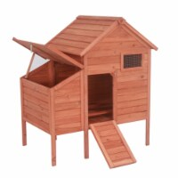 Aleko DXH002-UNB Raised Fir Wood Chicken Coop - Rabbit Hutch - 44 x 30 x 48 in.