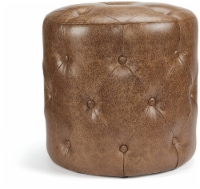 HomePop Camas Faux Leather Tufted Ottoman - Brown