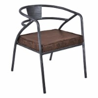 Paisley Modern Dining Chair in Industrial Grey Finish and Brown Fabric - 1