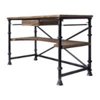 Theo Industrial Desk in Industrial Grey and Pine Wood Top - 1