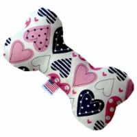 Mirage Pet 1104-SFTYBN6 Mixed Hearts 6 in. Stuffing Free Bone Dog Toy - 1