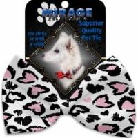 Mirage Pet 1371-BT Pink Leopard Hearts Pet Bow Tie - 1