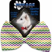 Mirage Pet 1375-VBT Mardi Gras Chevron Pet Bow Tie Collar Accessory with Cloth Hook & Eye - 1