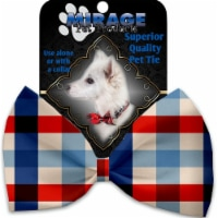 Mirage Pet 1136-VBT Patriotic Plaid Pet Bow Tie Collar Accessory with Cloth Hook & Eye - 1
