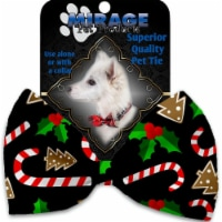 Mirage Pet 1272-VBT Candy Cane Chaos Pet Bow Tie Collar Accessory with Cloth Hook & Eye - 1