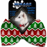 Mirage Pet 1278-VBT Chevron Christmas Trees Pet Bow Tie Collar Accessory with Cloth Hook & Ey - 1