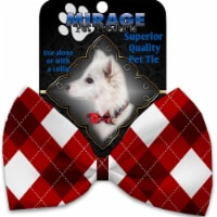 Mirage Pet 1311-VBT Candy Cane Argyle Pet Bow Tie Collar Accessory with Cloth Hook & Eye - 1