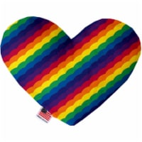 Mirage Pet 1145-CTYHT6 Scalloped Rainbow Canvas Heart Dog Toy - 6 in.