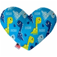 Mirage Pet 1235-CTYHT8 Blue Dinosaurs Canvas Heart Dog Toy - 8 in.