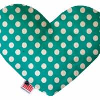 Mirage Pet 1242-CTYHT8 Seafoam Green Swiss Dots Canvas Heart Dog Toy - 8 in. - 1