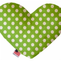 Mirage Pet 1244-CTYHT8 Lime Green Swiss Dots Canvas Heart Dog Toy - 8 in. - 1