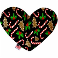 Mirage Pet 1272-CTYHT8 Candy Cane Chaos Canvas Heart Dog Toy - 8 in.