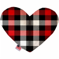 Mirage Pet 1302-CTYHT6 Red & White Buffalo Check Canvas Heart Dog Toy - 6 in.