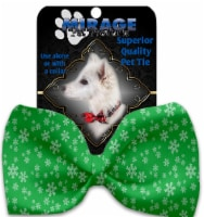 Green and White Snowflakes Pet Bow Tie Collar Accessory with Velcro - 1
