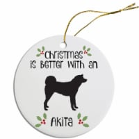 Mirage Pet Products ORN-R-B04 Round Breed Specific Christmas Ornament - Akita - 1