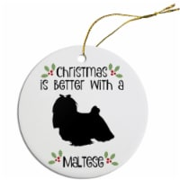 Mirage Pet ORN-R-B48 Breed Specific Round Christmas Ornament - Maltese - 1