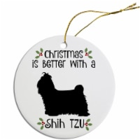 Mirage Pet ORN-R-B70 Breed Specific Round Christmas Ornament - Shih Tzu - 1