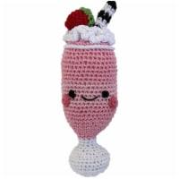 Mirage Pet 500-111 SMS Knit Knacks Organic Cotton Small Dog Toy, Strawberry Milkshake - 1
