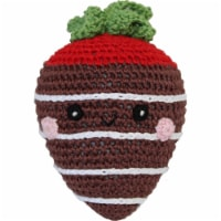 Mirage Pet 500-111 MCS Knit Knacks Strawberry Organic Cotton Small Dog Toy, Milk Chocolate - 1