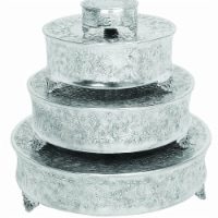 Aluminum Cake Stand for Stylish Host, Polished Silver & Gray - Set of 4