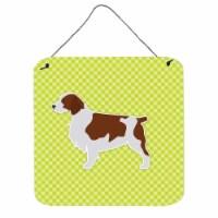 Welsh Springer Spaniel Checkerboard Green Wall or Door Hanging Prints - 1