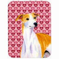 15 x 12 in. Whippet Hearts Love and Valentines Day Portrait Glass Cutting Board - Large