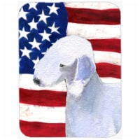 USA American Flag With Bedlington Terrier Glass Cutting Board - Large