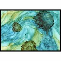 Abstract In Teal Flowers Indoor & Outdoor Mat, 24 x 36 in. - 1