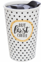 Formation Brands But First Coffee Travel Mug - White/Black/Yellow