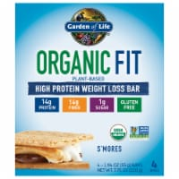 Garden of Life Organic Fit S'mores Plant-Based High Protein Weight Loss Bar 4 Count