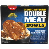 Hungry-Man Double Meat Smothered Salisbury Steak Mashed Potatoes and Gravy Frozen Protein Bowl - 15 oz