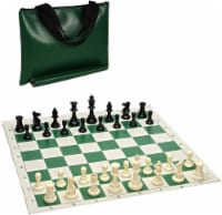 WE Games Tournament Chess Pack - Staunton Pieces with Green Board and Green Tote - 1 unit