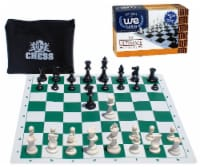 WE Games Travel Tournament Chess Set, Green Silicone Board, Plastic Pieces - 1 unit