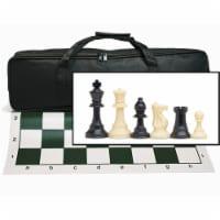 WE Games Complete Tournament Chess Set, Plastic Pieces, Green Board, Bag - 1 unit